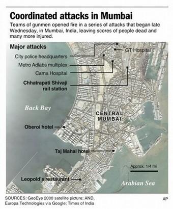 Map locates terrorist attacks in Mumbai, India
