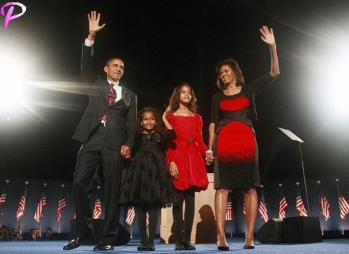 U.S. President-elect Senator Barack Obama (D-IL) along with wife Michelle (R) and daughters Sasha and Malia (2nd R) wave during his election night victory rally in Chicago November 4, 2008. Obama captured the White House on Tuesday after an extraordinary two-year campaign, defeating Republican John McCain to make history as the first black to be elected U.S. president.