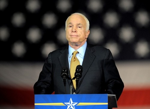 Republican presidential candidate John McCain concedes defeat in the 2008 presidential election to Democrat Barack Obama during his election night rally at the Arizona Biltmore Resort & Spa on November 4, 2008 in McCain�s home town of Phoenix, Arizona. McCain congratulated rival Obama and called for Americans to unite behind their new leader.
