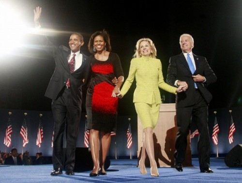 U.S. Democratic President-elect Senator Barack Obama (D-IL) (L), along with his wife Michelle, Vice-President elect Sen. Joe Biden (D-DE) (R) and his wife Jill Biden, wave during their election night rally in Chicago November 4, 2008. Obama captured the White House on Tuesday after an extraordinary two-year campaign, defeating Republican John McCain to make history as the first black to be elected U.S. president.