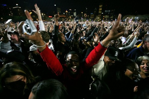 Obama supporters react after projections show that Sen. Barack Obama (D-IL) will be elected to serve as the next President of the United States of America during an election night gathering in Grant Park on November 4, 2008 in Chicago, Illinois. If projections are correct, Obama will defeat Republican nominee Sen. John McCain (R-AZ) by a wide margin in the election to become the first African-American U.S. President elect.