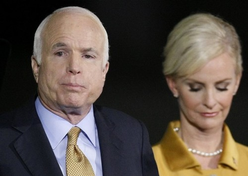 U.S. Republican presidential nominee Senator John McCain (R-AZ) stands with his wife Cindy as he delivers his concession speech after US Sen. Barack Obama (D-IL) defeated him during his election night rally in Phoenix November 4, 2008.