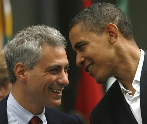 Democratic presidential nominee Senator Barack Obama (D-IL) (R) speaks with Representative Rahm Emanuel (D-IL) during a Chicago 2016 Olympics rally in Chicago in this June 6, 2008 file photo. Emanuel, a member of the Democratic leadership in the House of Representatives, has been offered the job to head President-elect Barack Obama's staff, party sources said. The sources said that the job was offered to Emanuel on November 5, 2008, just hours after Obama was elected, and Emanuel was expected to quickly accept the post of White House chief of staff.