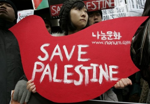 A South Korean protester holds a dove-shaped banner during a pro-Palestinian rally denouncing Israel's attacks on Gaza in front of the Israeli embassy in Seoul December 30, 2008.  REUTERS/Jo Yong-Hak (SOUTH KOREA)