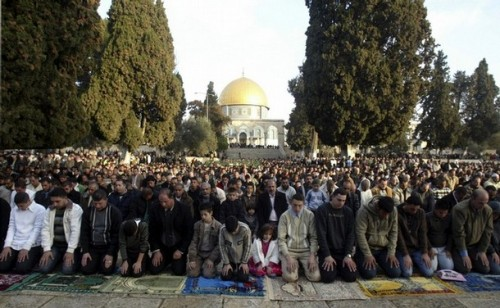 Palestinian worshippers pray during Eid al-Adha on the compound known to Muslims as al-Haram al-Sharif, and to Jews as Temple Mount, in Jerusalem's Old city December 8, 2008. Muslims around the world celebrate Eid al-Adha to mark the end of the haj by slaughtering sheep, goats, cows and camels to commemorate Prophet Abraham's willingness to sacrifice his son Ismail on God's command.